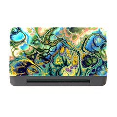 Flower Power Fractal Batik Teal Yellow Blue Salmon Memory Card Reader With Cf by EDDArt