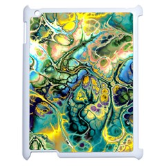 Flower Power Fractal Batik Teal Yellow Blue Salmon Apple Ipad 2 Case (white) by EDDArt