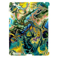 Flower Power Fractal Batik Teal Yellow Blue Salmon Apple Ipad 3/4 Hardshell Case (compatible With Smart Cover) by EDDArt
