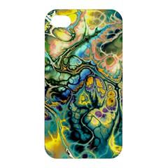 Flower Power Fractal Batik Teal Yellow Blue Salmon Apple Iphone 4/4s Premium Hardshell Case by EDDArt