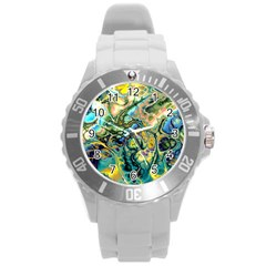 Flower Power Fractal Batik Teal Yellow Blue Salmon Round Plastic Sport Watch (l) by EDDArt