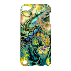 Flower Power Fractal Batik Teal Yellow Blue Salmon Apple Ipod Touch 5 Hardshell Case by EDDArt