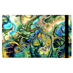 Flower Power Fractal Batik Teal Yellow Blue Salmon Apple Ipad 3/4 Flip Case by EDDArt