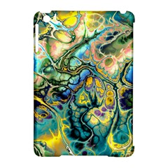 Flower Power Fractal Batik Teal Yellow Blue Salmon Apple Ipad Mini Hardshell Case (compatible With Smart Cover) by EDDArt