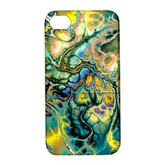 Flower Power Fractal Batik Teal Yellow Blue Salmon Apple Iphone 4/4s Hardshell Case With Stand by EDDArt