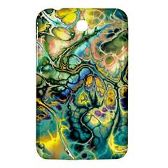 Flower Power Fractal Batik Teal Yellow Blue Salmon Samsung Galaxy Tab 3 (7 ) P3200 Hardshell Case  by EDDArt
