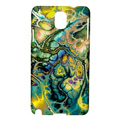 Flower Power Fractal Batik Teal Yellow Blue Salmon Samsung Galaxy Note 3 N9005 Hardshell Case by EDDArt