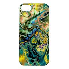 Flower Power Fractal Batik Teal Yellow Blue Salmon Apple Iphone 5s/ Se Hardshell Case by EDDArt