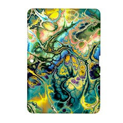 Flower Power Fractal Batik Teal Yellow Blue Salmon Samsung Galaxy Tab 2 (10 1 ) P5100 Hardshell Case  by EDDArt