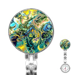 Flower Power Fractal Batik Teal Yellow Blue Salmon Stainless Steel Nurses Watch by EDDArt
