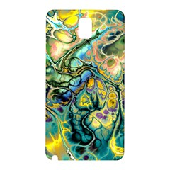 Flower Power Fractal Batik Teal Yellow Blue Salmon Samsung Galaxy Note 3 N9005 Hardshell Back Case by EDDArt