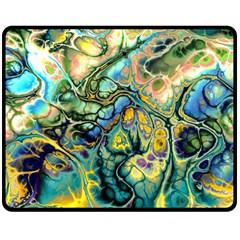 Flower Power Fractal Batik Teal Yellow Blue Salmon Double Sided Fleece Blanket (medium)  by EDDArt
