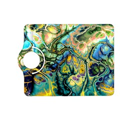 Flower Power Fractal Batik Teal Yellow Blue Salmon Kindle Fire Hd (2013) Flip 360 Case by EDDArt