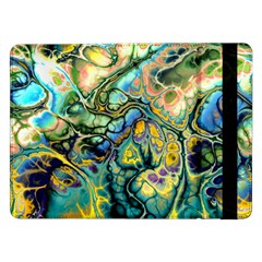 Flower Power Fractal Batik Teal Yellow Blue Salmon Samsung Galaxy Tab Pro 12 2  Flip Case by EDDArt