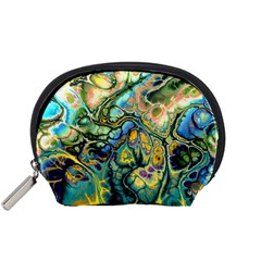 Flower Power Fractal Batik Teal Yellow Blue Salmon Accessory Pouches (small)  by EDDArt