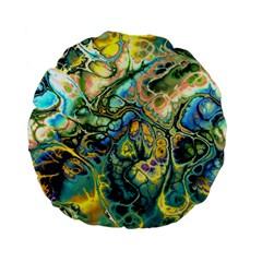 Flower Power Fractal Batik Teal Yellow Blue Salmon Standard 15  Premium Flano Round Cushions by EDDArt