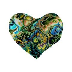 Flower Power Fractal Batik Teal Yellow Blue Salmon Standard 16  Premium Flano Heart Shape Cushions by EDDArt