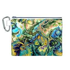 Flower Power Fractal Batik Teal Yellow Blue Salmon Canvas Cosmetic Bag (l) by EDDArt