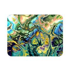 Flower Power Fractal Batik Teal Yellow Blue Salmon Double Sided Flano Blanket (mini)  by EDDArt