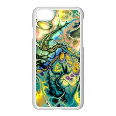 Flower Power Fractal Batik Teal Yellow Blue Salmon Apple Iphone 7 Seamless Case (white) by EDDArt