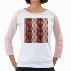 Wrinkly Batik Pattern Brown Beige Girly Raglans