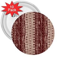 Wrinkly Batik Pattern Brown Beige 3  Buttons (10 Pack)  by EDDArt