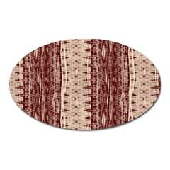 Wrinkly Batik Pattern Brown Beige Oval Magnet by EDDArt