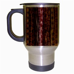 Wrinkly Batik Pattern Brown Beige Travel Mug (silver Gray) by EDDArt