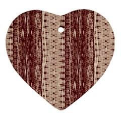 Wrinkly Batik Pattern Brown Beige Heart Ornament (two Sides) by EDDArt