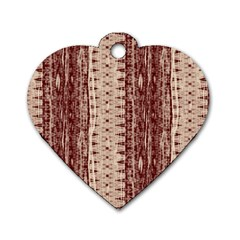 Wrinkly Batik Pattern Brown Beige Dog Tag Heart (one Side) by EDDArt