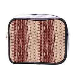 Wrinkly Batik Pattern Brown Beige Mini Toiletries Bags by EDDArt