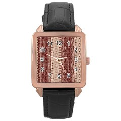 Wrinkly Batik Pattern Brown Beige Rose Gold Leather Watch  by EDDArt