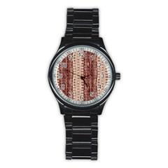 Wrinkly Batik Pattern Brown Beige Stainless Steel Round Watch by EDDArt