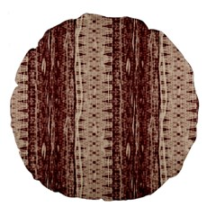 Wrinkly Batik Pattern Brown Beige Large 18  Premium Flano Round Cushions by EDDArt