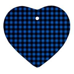Lumberjack Fabric Pattern Blue Black Ornament (heart) by EDDArt