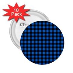 Lumberjack Fabric Pattern Blue Black 2 25  Buttons (10 Pack)  by EDDArt