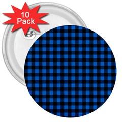 Lumberjack Fabric Pattern Blue Black 3  Buttons (10 Pack)  by EDDArt