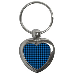 Lumberjack Fabric Pattern Blue Black Key Chains (heart)  by EDDArt