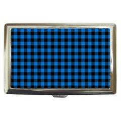 Lumberjack Fabric Pattern Blue Black Cigarette Money Cases by EDDArt
