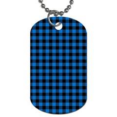 Lumberjack Fabric Pattern Blue Black Dog Tag (two Sides) by EDDArt