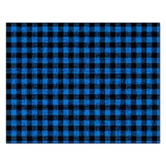 Lumberjack Fabric Pattern Blue Black Rectangular Jigsaw Puzzl by EDDArt