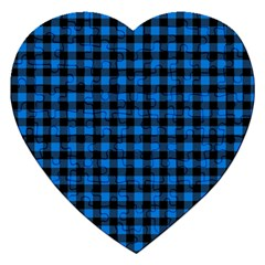 Lumberjack Fabric Pattern Blue Black Jigsaw Puzzle (heart) by EDDArt