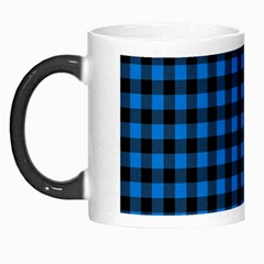 Lumberjack Fabric Pattern Blue Black Morph Mugs by EDDArt