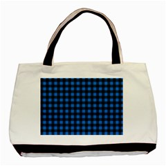 Lumberjack Fabric Pattern Blue Black Basic Tote Bag (two Sides) by EDDArt