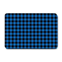 Lumberjack Fabric Pattern Blue Black Small Doormat  by EDDArt