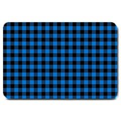 Lumberjack Fabric Pattern Blue Black Large Doormat  by EDDArt