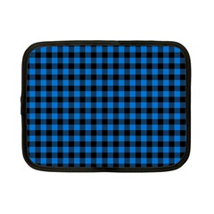 Lumberjack Fabric Pattern Blue Black Netbook Case (small)  by EDDArt