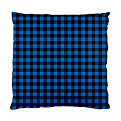 Lumberjack Fabric Pattern Blue Black Standard Cushion Case (one Side) by EDDArt