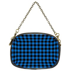 Lumberjack Fabric Pattern Blue Black Chain Purses (two Sides)  by EDDArt