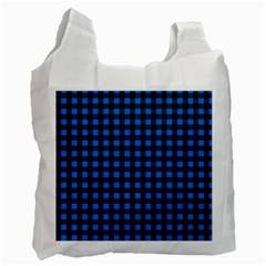 Lumberjack Fabric Pattern Blue Black Recycle Bag (two Side)  by EDDArt